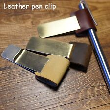 Brass Pen Holder with Genuine Leather Loop For Midori Travelers Notebook