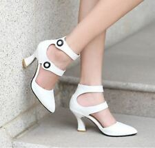 Womens Button Pointy Toes High chunky Heel Ankle Strap Pump sandals dress shoes