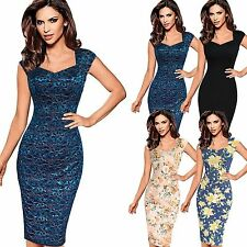 Women Ladies Sexy Elegant Floral Lace Casual Cocktail Party Sheath Bodycon Dress