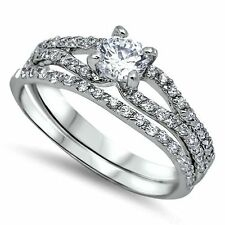 .925 Sterling Silver Wedding set CZ Engagement ring Bridal Size 7 Ladies New z10