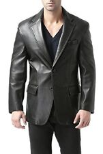 Mens Blazer Two Button Soft Sheep Leather Coat