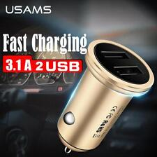 USAMS  5V 3.1A Fast Charge Dual USB Metal Car Charger For iphone 7 6 Samsung HTC