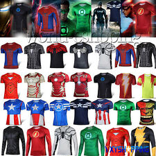 New Mens Compression Marvel Superhero Basic Tee T-Shirt Gym Sports Jersey Tops