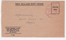 New Zealand Palmerston 1968 Official Stampless Cover to Foxton