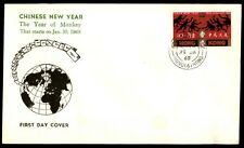 Hong Kong Chinese New Year 1968 Kowloon City Monkeys FDC Sc 237