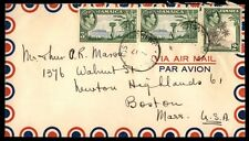Jamaica multifranked 8 d airmail cover to Boston Massachusetts