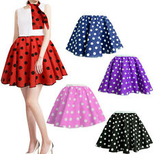 17'' POLKA DOT ROCK AND ROLL 50s SKIRT & SCARF SET FANCY DRESS COSTUME HEN PARTY