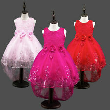 Kids Girls Flower Bridal Pageant Party Prom Occasion Dropped Wedding Dress Gown