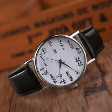 Unique Women Mens Math Operation Leather Stainless Steel Watch Wrist Watches