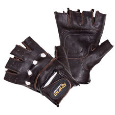 MEN'S LEATHER FINGERLESS DRIVING MOTORCYCLE BIKER BROWN GLOVES S-3XL