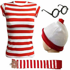 LADIES GIRLS STRIPES KIT T-SHIRT HAT GLASSES SOCKS OUTFIT COSTUME BOOK WEEK DAY