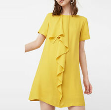 Women Ladies Fashion Ruffle Frill Chiffon Shift Dress Casual Summer Mini Dresses