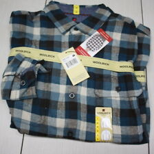 NWT Woolrich Long Sleeve Flannel Plaid Blue Buffalo Button Up
