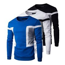 Mens Spring Long Sleeve Tee Pullover Hoodies O Neck T-Shirt Sweatshirt Slim Tops