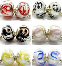 "Fashion Foil ""e"" Design Lampwork Glass Beads Fit European Charm Bracelet"