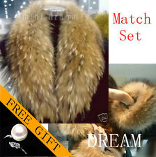 Match Denmark Genuine Real Raccoon/Fox fur Pelt Cuffs Scarf Collar Cape Set