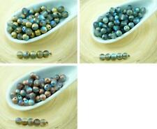 100pcs Matte Rainbow Round Czech Glass Beads Small Spacer 4mm
