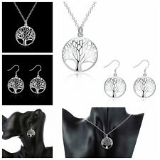 Women Gift Fashion Jewelry Life Tree Pendant Silver Plated Necklace Earring Set