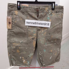 NWT DENIM & SUPPLY RALPH LAUREN MENS PAINT-SPLATTERED UTILITY SHORTS SIZE 33,36