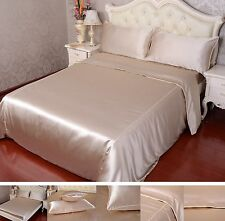 19 Momme 100% Pure Silk Duvet Quilt Cover Sheets Pillow Cases Seamed Beige