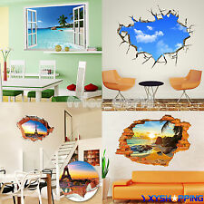 3D Window Exotic Beach View Wall Stickers Art Mural Vinyl Decal Home Decorations