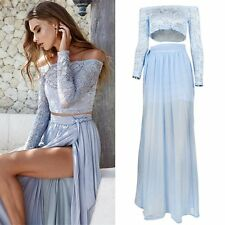 Womend Sexy Lace Boho Dress Evening Party Long Maxi Off Shoulder Pleated Dresses