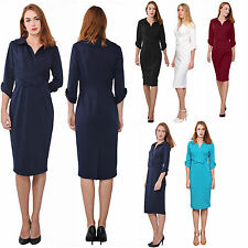 WOMENS CLASSY VINTAGE RETRO 1960S DRESS COLLARED WORK OFFICE BUSINESS DRESSES
