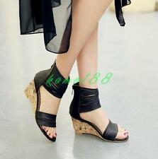 New Roman Womens Sandals Wedge Heels Open Toe Zip Gladiator strappy Shoes Size