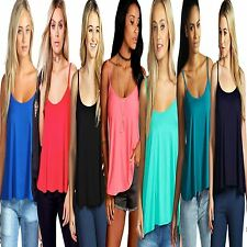 New Ladies Womens Stylish Plain Swing Strappy Sleeveless Cami Plus Size Vest TOP