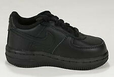 NIKE AIR FORCE 1 LOW BLACK LEATHER BABY INFANT TD SZ 3-10 * 314194-009 *