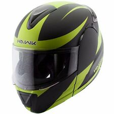 Hawk 6685 Raptor Yellow Black Modular Dual Visor Full Face Motorcycle Helmet