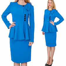 BLUE WOMENS VINTAGE PEPLUM SKIRT SUIT RETRO BUSINESS FORMALCHURCH SKIRT SUITS