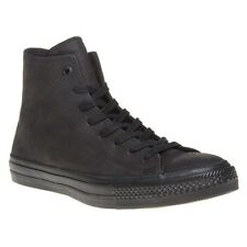 New Mens Converse Black Chuck Taylor All Star II High Leather Trainers Mono Lace