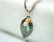 Genuine Rainbow Shell Necklace - Natural Stone Leaf Pendant Leather