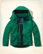 NWT Hollister by Abercrombie&Fitch All-Weather Jacket Fleece-Lined Green S/XL