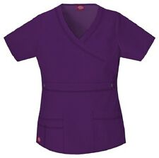 Dickies Scrubs 817355 V Neck Scrub Top Dickies GenFlex Jr Fit Eggplant