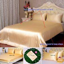 19 Momme 100% Pure Silk Duvet Quilt Cover Sheets Pillow Cases Seamed Champagne