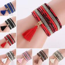 Women Bohemia Multilayer Faux Leather Knitted Tassels Bracelet Bangle Fantastic1
