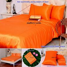 19 Momme 100% Pure Silk Duvet Quilt Cover Sheets Pillow Cases Seamed Orange