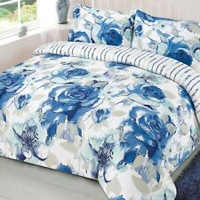 Floral Reversible Quilt Cover with Pillowcase Duvet Bedding Set Cammi Blue White