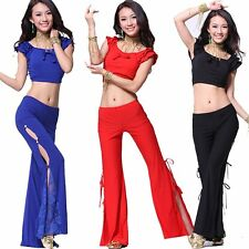 Belly Dance Costume outfit Indian Tribal Yoga Practice Bra Top & Slit Pants Set