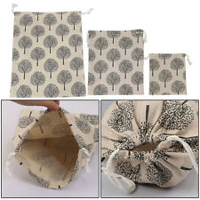 Cotton Linen Pachira Wedding Favor Gift Bags Drawstring Pouch Sack Bag 3 Sizes