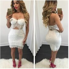 Women Sexy Club Fashion Two Piece Outfit Bodycon Lace Bandage Party Dress