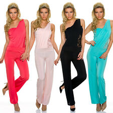 Ladies One Shoulder Overall Catsuit Lace Jumpsuit Party Wedding S M 34 36 38