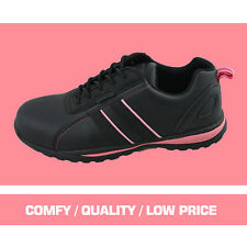 LADIES STEEL TOE CAP SAFETY TRAINERS/SHOES (BLACK/PINK)
