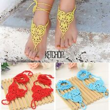 New Women Barefoot Sandals Hand-made Crochet Knitted Party Beach Anklets KECP