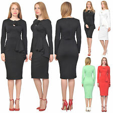 MARYCRAFTS WOMEN'S COCKTAIL BODYCON DRESS LONG SLEEVE VINTAGE RETRO MIDI DRESSES