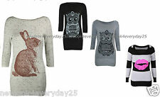 New Women Ladies Rabiit &Owl And Lip  Print Marl Knitted Top Knit Jumper UK8-14)