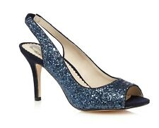 Debut Womens Glitter Peep Toe 3.5 Inch High Heeled Court Shoes Navy Blue