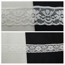 "2 / 4 yards off white scalloped floral design stretch lace trim 1 3/16"" W. S2-10"
